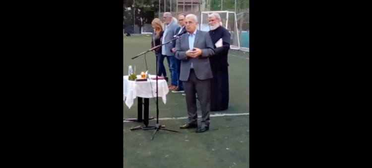 Ομιλία στο γήπεδο της Νικόπολης στο γήπεδο της Νικόπολης στον αγιασμό για τη νέα ποδοσφαιρική περίοδο.