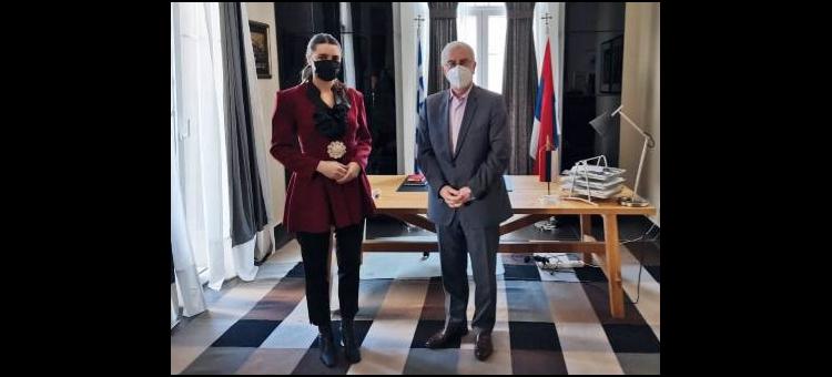 Συνάντηση με την Επικεφαλής της Αντιπροσωπείας στην Ελλάδα της Σέρβικης Δημοκρατίας της Βοσνίας. (5-3-2021)