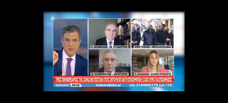 Η  Κυβέρνηση θα σταθεί δίπλα στους εμπόρους. (Παρέμβαση στο SkaiTV, στις 4-4-21)